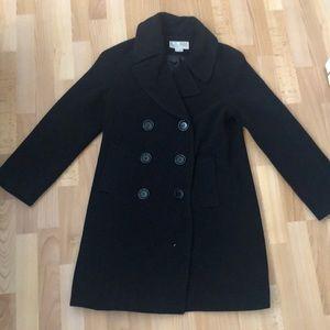 Michael Kors double breasted black wool peacoat